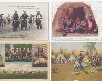 Vintage Postcard Lot of 4 Native American Indian Lifestyle & Portraits