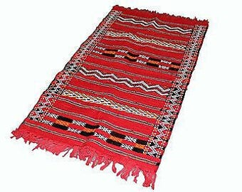 Authentic Moroccan Handmade Handwoven Kilim 100% Wool Rug - Red Black & Orange - 1.43 x 0.81 m