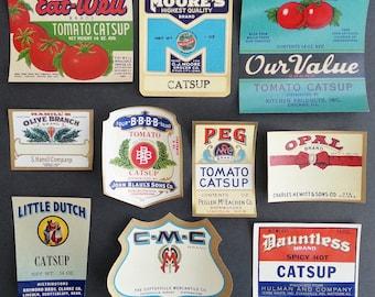 10 Different Original Unused Vintage 1920's -1940's Colorful Catsup Labels