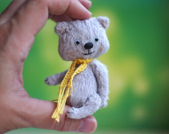 Artist teddy bear 3.5 inches OOAK miniature animal creature present gift handmade toy