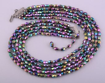 1950's Necklace With Rainbow Glass Beads (624n)