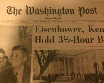 The Washington Post vinatge newspaper. JFK meeting Eisenhower cover. 1960.