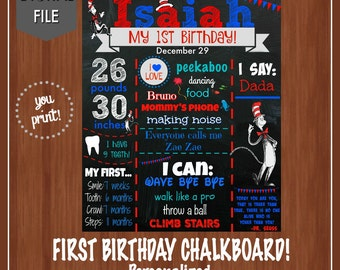 Dr. Seuss First Birthday Chalkboard File- Poster - Cat in the hat - 1st Birthday  - Seuss - Printable Chalkboard - Dr. Seuss
