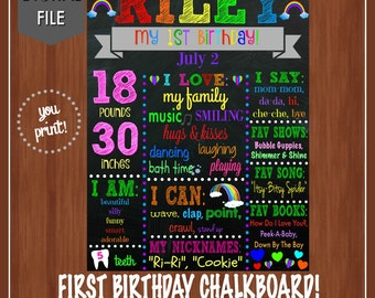 Rainbow First Birthday Chalkboard - Colorful - First Birthday Chalkboard - DIGITAL - Girl's First Birthday - 1st Birthday - About Me Sign