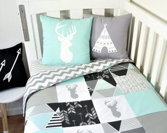 Mint, grey and black deer, geometric, triangle, arrow, patchwork nursery items (grey chevron quilt backing)