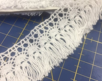 3 Yards White Cotton Lace with Fringe Trim 3,5cm wide R011