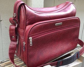 Vintage 1960's Samsonite Silhouette Deep Red Carry on Bag