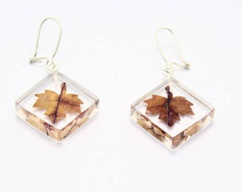 Square earrings with fall leaves
