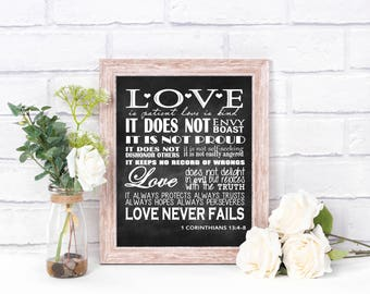 1 Corinthians 13 : 4-8, Love is patient, love is kind sign - instant download