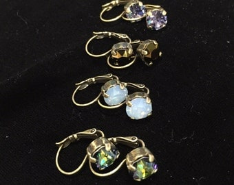 Swarovski Crystal lever back 8.5mm Oxidized Brass Drop Earrings