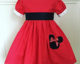 MADE TO FIT Minnie Mouse dress quality 100% cotton fabric with ribbon sash, mouse detail, puffed cuffed sleeves and extra full skirt