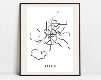Madrid Metro Map - Black and White Art Print - Digital Download Art Print