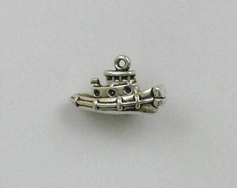 Sterling Silver 3-D Tugboat Charm