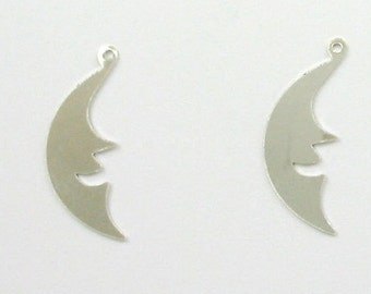 925 Sterling Silver Moon Face Charms, Set of 2 - stc-SS105