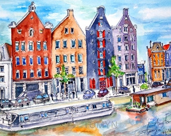 Amsterdam houses.Canal houses of Amsterdam.  Netherlands. Original watercolor painting.