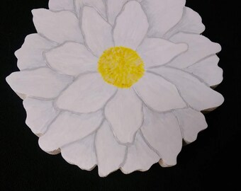 White flower. Wooden flower for your HOME Collection. Shelf letters.