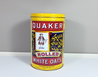 Vintage Quaker Oats Tin Limited Edition English and French - Vintage yellow Quaker tin: Rolled white oats - Retro kitchen tin
