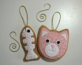 Cat  Felt Ornaments in Pink
