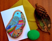 Greeting Card - Painted stone Bird -