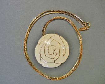 Vintage Monet Flower necklace, Monet gold cream enamel necklace, Monet ivory gold flower necklace, Monet enamel necklace, Monet necklace