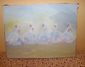 Set of 5 Dancing Ballerina Acrylic Painting Wall Art