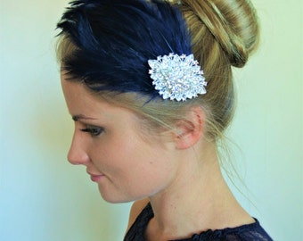 Wedding Hair Clip- Bridal  Fascinator- Wedding Fascinator -Feather Hair Clip - Naby Blue   Hair Piece- 1920s Headpiece- LEONIE