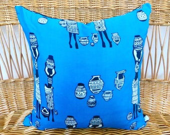 """African Turquoise Blue Handmade Pillow, Bohemian Home 20""""x20"""" Pillow, Boho Style African Textile"""