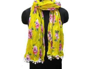 Floral print scarf/ cotton scarf/ lace scarf/ gift  scarf / yellow scarf/ /  gift ideas.