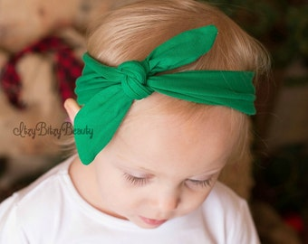 Green Knot Turban Headband Girls Hair Accessory Matches Christmas Pajama