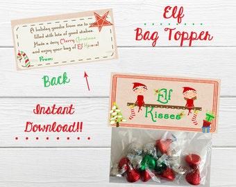 INSTANT DOWNLOAD Holiday Elf Kisses Bag Topper