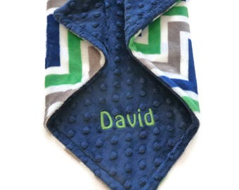 Personalized Baby Blanket or Lovey -  Baby Boy blanket or Lovey - Custom Made - You Choose Minky Color - Green, Blue and Gray Chevron