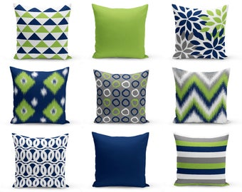 Throw Pillow Covers, Green Navy White, Decorative Pillow Covers, Chevron, Floral, Ikat, Geometric, Cushion Covers, Mix and Match