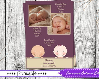 Twins - Multiples Birth Announcements - Printable birth announcement - photo birth announcement -