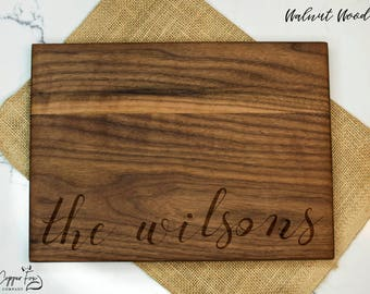 Personalized cutting board, customized cutting board, couple cutting board, housewarming gift wedding gift anniversary gift - Cursive 012