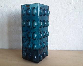 Hirschberg vase ... blue ... petrol ... bubble glass ... Wilhelm Braun ... 1970s