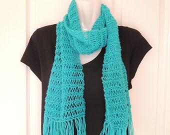 long scarf. scarves. hand knit. accessories, Spring fashion. clothing.  Autumn scarf. Winter scarf. Aqua. Australia seller