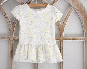 Girl Pepum Ruffle Tee, Girls Clothing, Baby Clothing, Long Sleeve T shirt , Toddler Long Sleeve, Kids Apparel and Baby Apparel