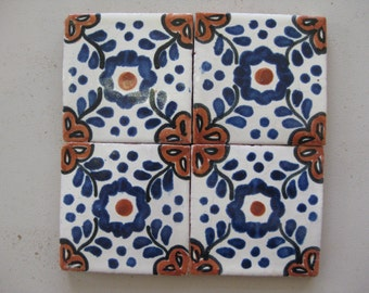 25-T101 3x3 Talavera Decorative Tile in Blue/Terracotta (Shipping Included)