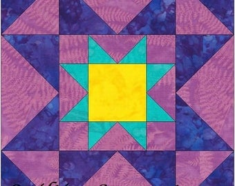 Eight Hands Around Star 10 Inch Paper Piece Foundation Quilting Block Pattern PDF