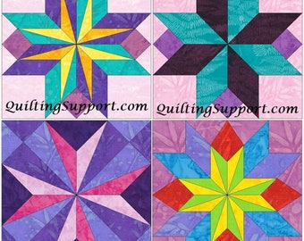 15 Inch Star Block Set of 4 Paper Piece Template Quilting Block Patterns Set 2 PDF