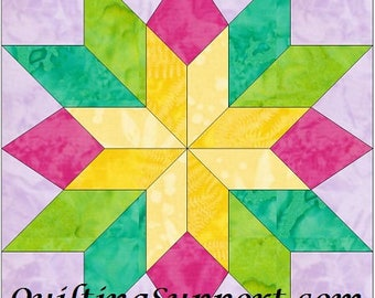 EQ Stars and Beams - 10 Inch Paper Piece Foundation Quilting Block Pattern PDF
