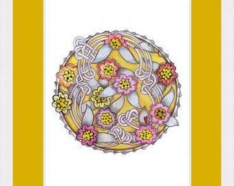Floral knot original art A4