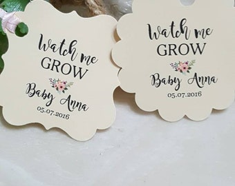 """Personalized Favor Tags 2""""or 2x2"""", Wedding tags, Thank You tags, Favor tags, Gift tags, baby Shower Favor Tags, let love grow, Bridal Shower"""