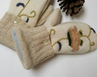 Felted wool mittens with embroidery, mittens made in Michigan AuntCookieCozyCorner, gift for her,mittens,gloves,made in USA