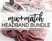 Baby Turban Headbands / Mix and Match Baby Headbands / Baby Girl Head Wraps / Baby Headwrap Headbands for Baby Girls / Baby Bow Headbands