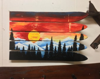 Colorado flag sunset, hand painted on skis
