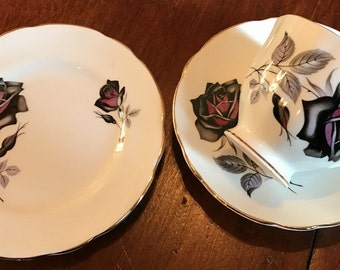 Black Rose trio Vintage bone china