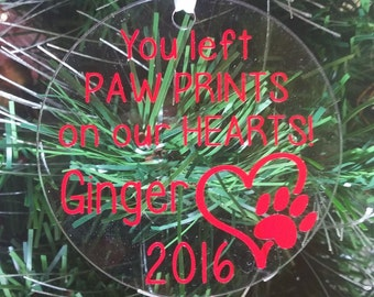 2017 Pet Memorial Ornament - In Memory - Rainbow Bridge Ornament - Paw Prints On Our Heart - Dog Cat Memorial - Pet Remembrance Gift Idea