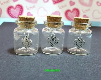 Lot Of 3pcs Silver Tone Heart Love Metal Charm In A Mini Glass Bottle With Cork. #CIB574SW.