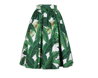 Green skirt, Banana leaf skirt, Maxi skirt, Cotton skirt, Midi skirt, High waist skirt, Pleated skirt, Palm print skirt, Summer skirt MK02